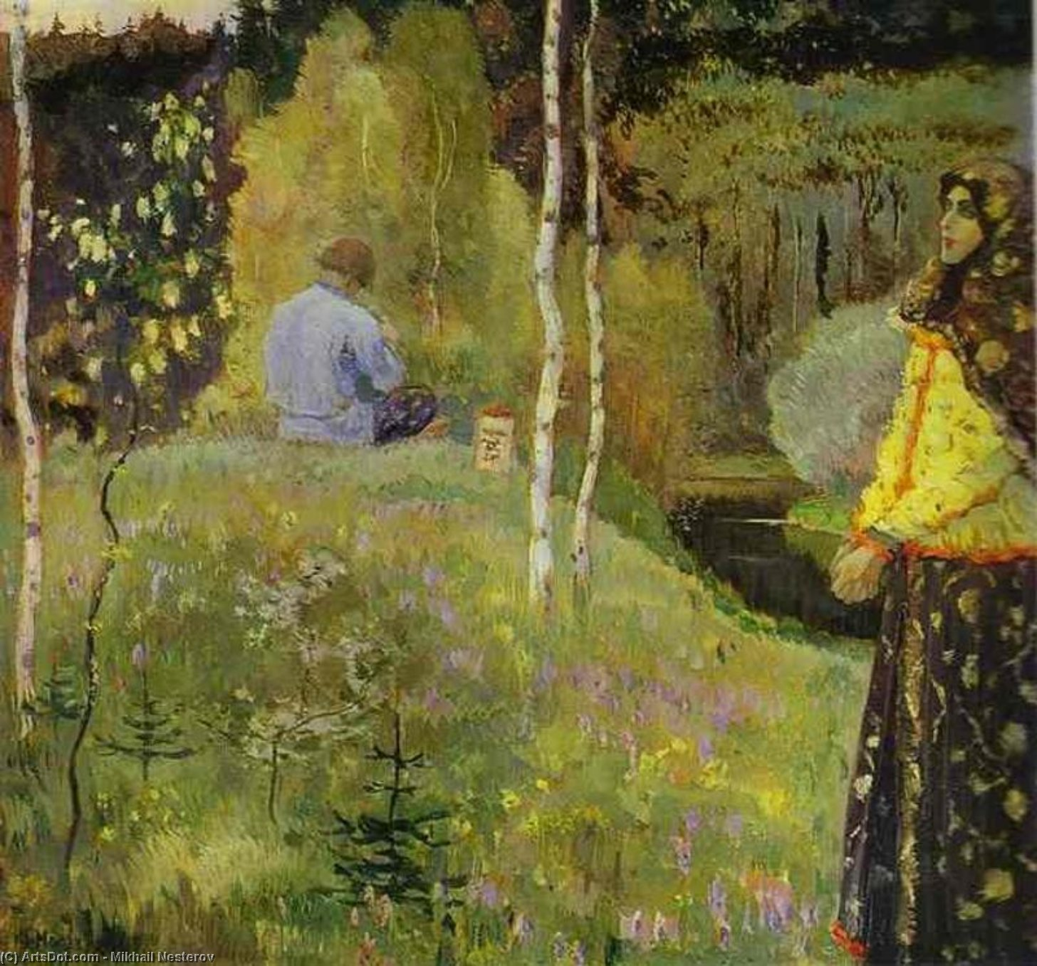 Reedpipe, オイル バイ Mikhail Nesterov (1862-1942, Russian Empire)