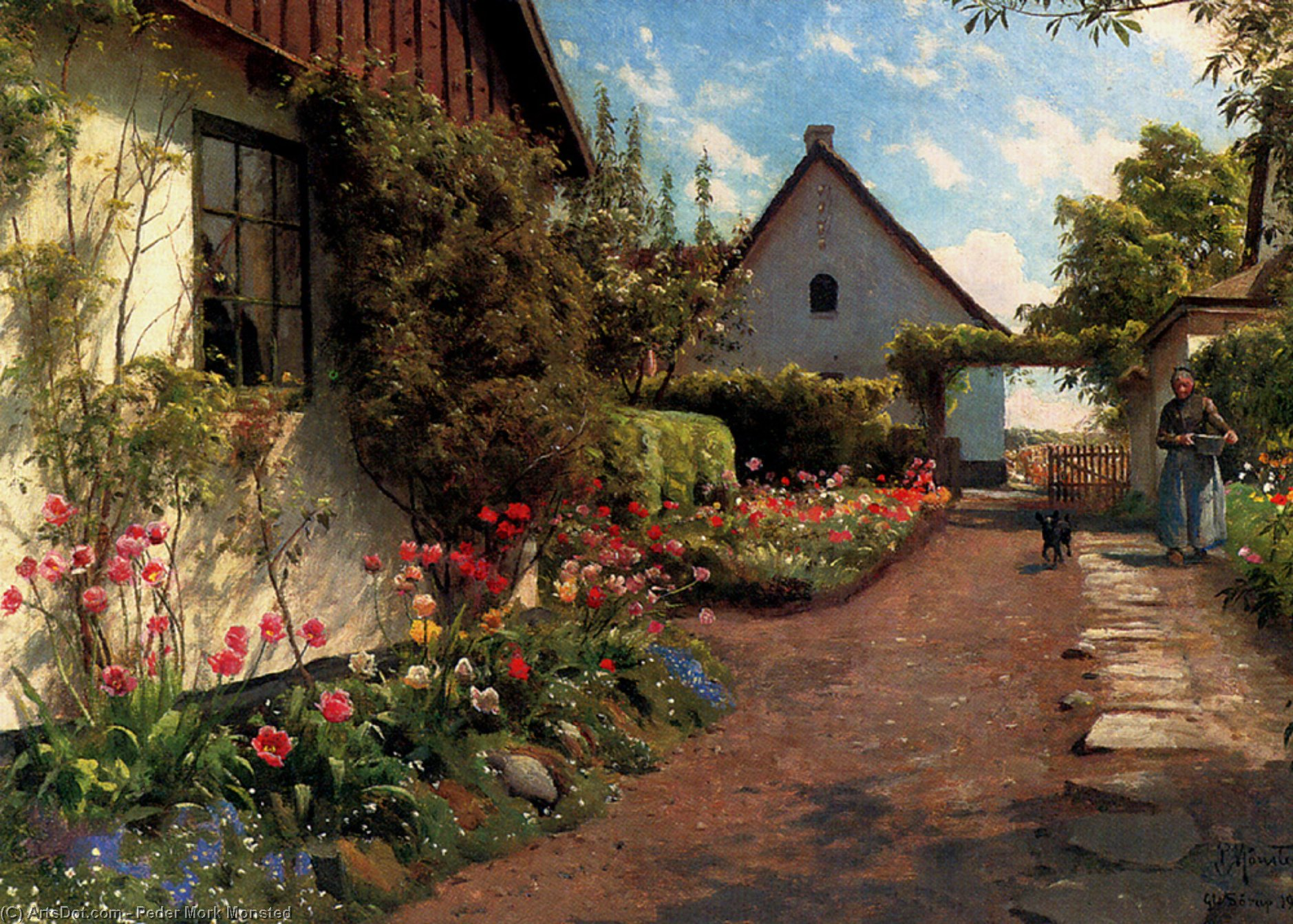 庭で, 原油 バイ Peder Mork Monsted (1859-1941, Denmark)