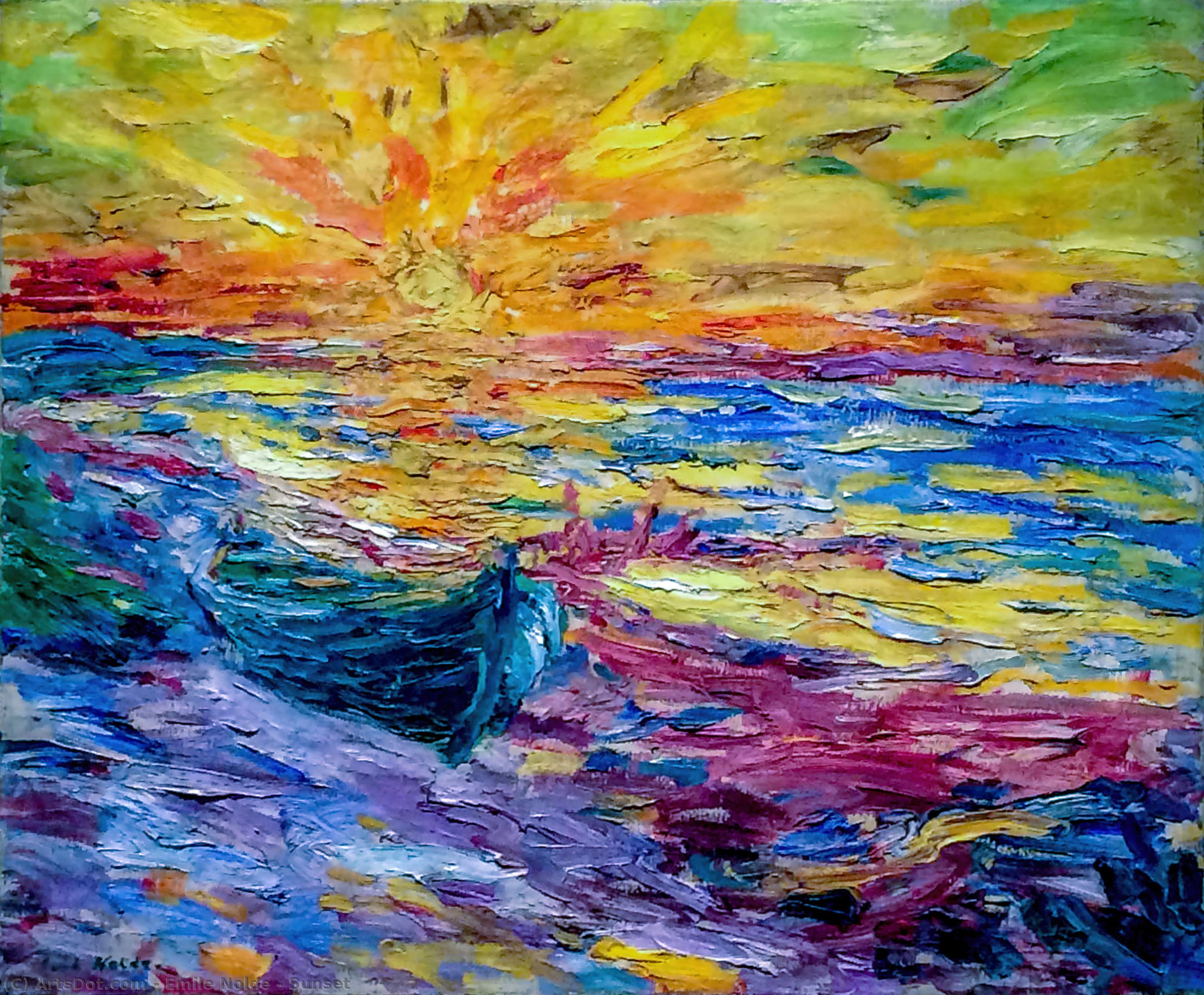 夕日 バイ Emile Nolde (1867-1956, Germany)