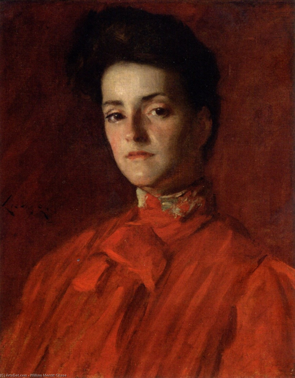 赤い服を着た女性, 1902 バイ William Merritt Chase (1849-1916, United States) | ArtsDot.com