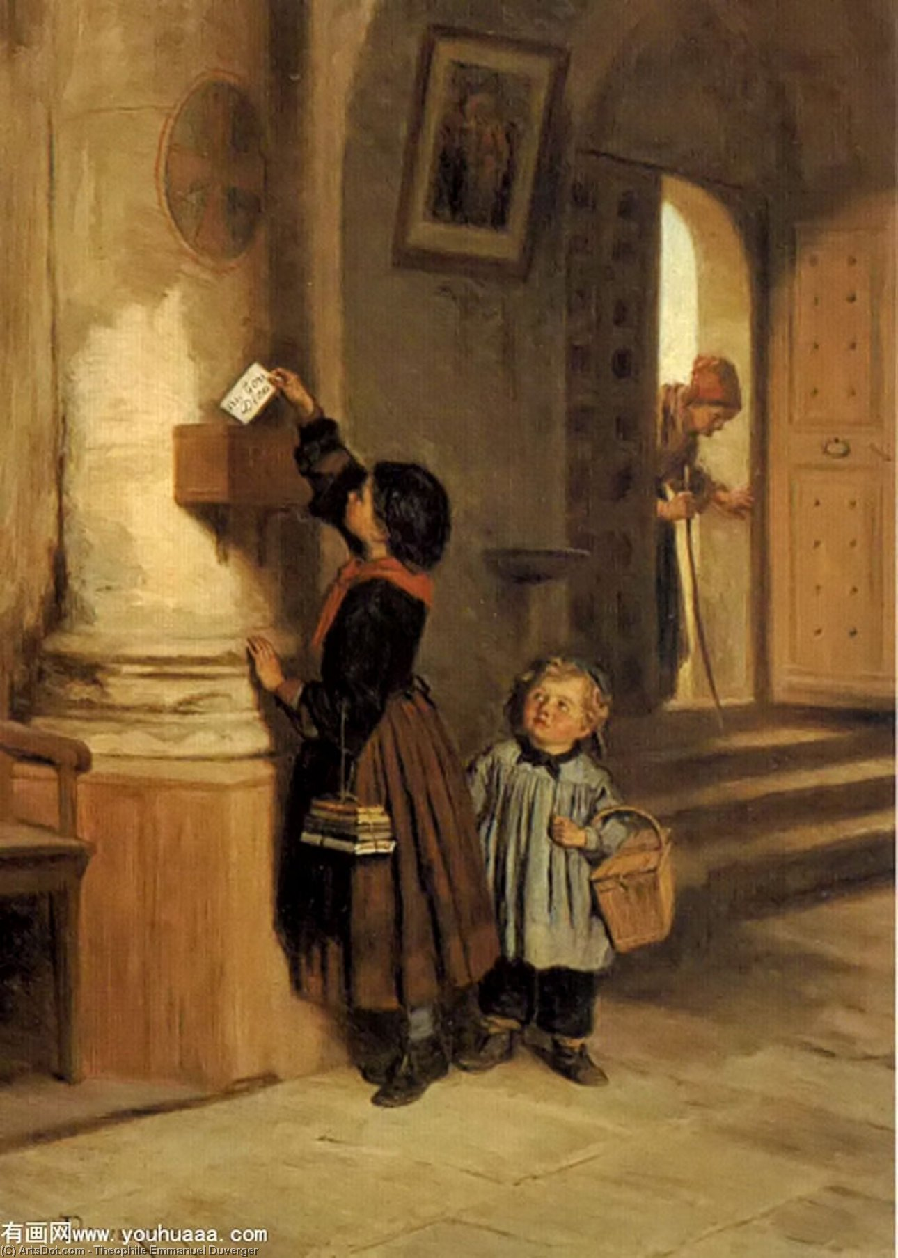 Lettre auの ボン デュー バイ Theophile Emmanuel Duverger (1821-1901, France)