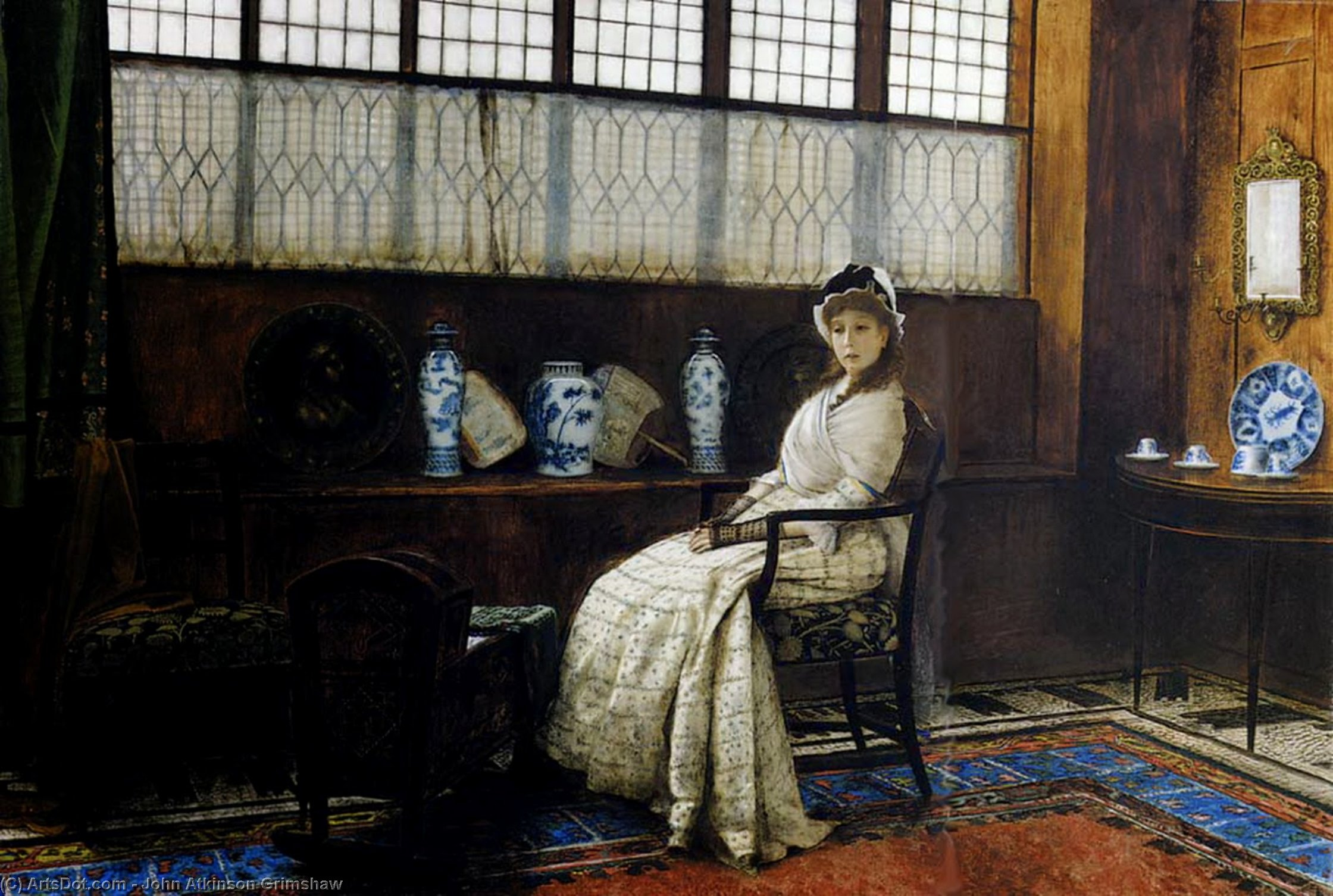 ゆりかごの歌 バイ John Atkinson Grimshaw (1836-1893, United Kingdom)