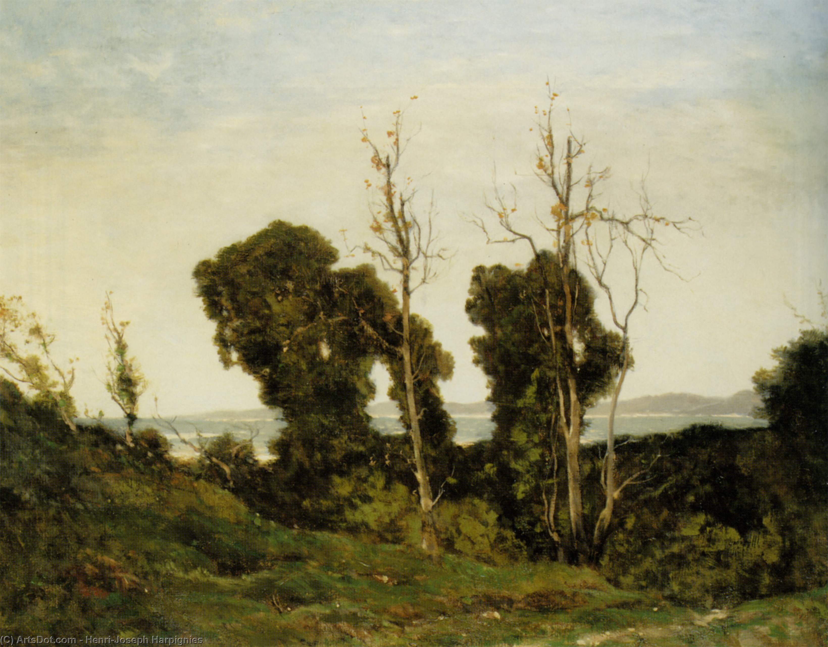 夕方 バイ Henri-Joseph Harpignies (1819-1916, France)