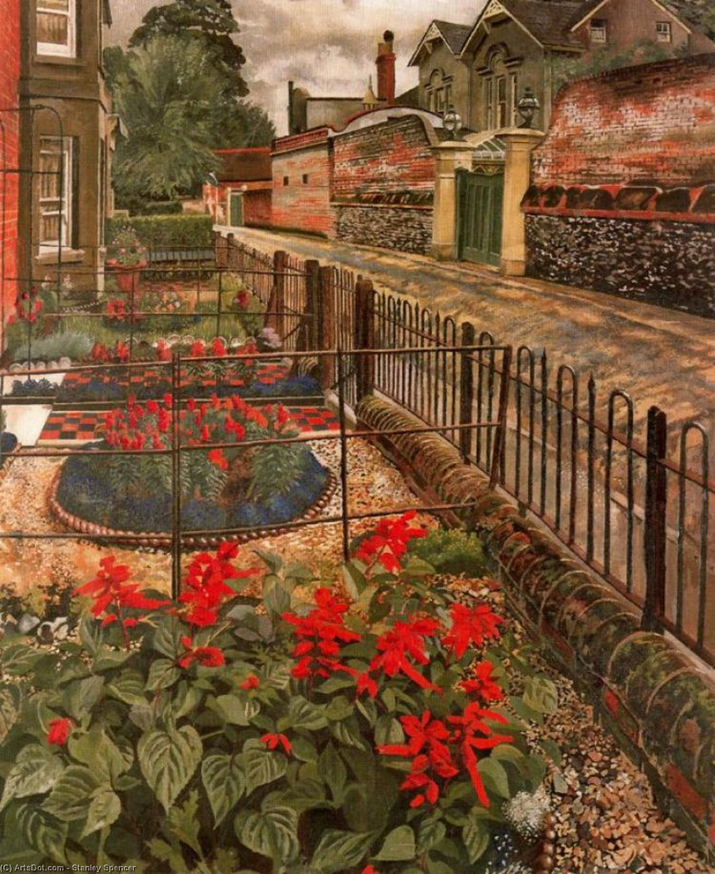 ポンドで庭園。 Cookham バイ Stanley Spencer (1891-1959, United Kingdom)