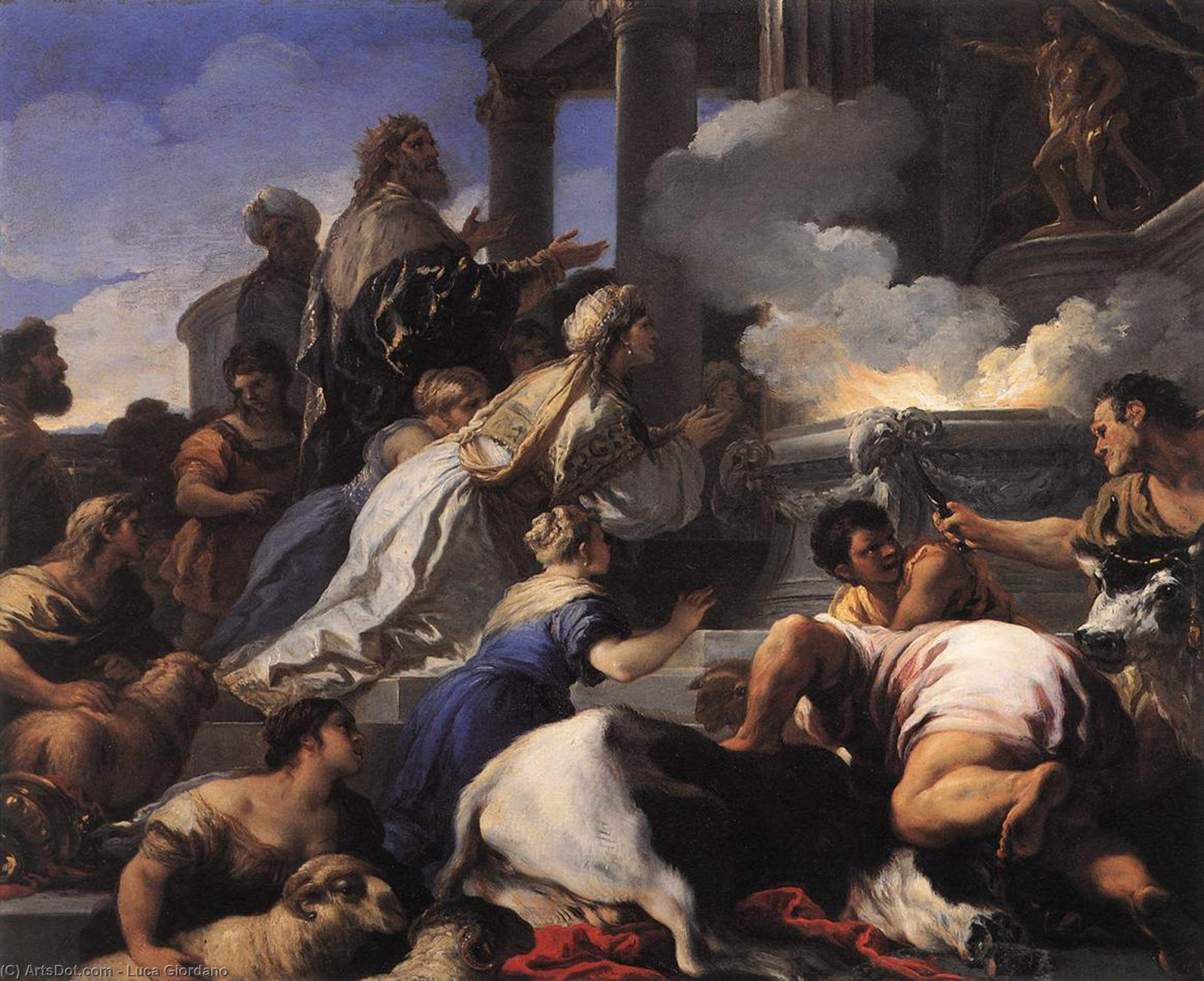 Psyche's 親 募集 に犠牲 アポロ, 銅油彩 バイ Luca Giordano (1634-1705, Italy)
