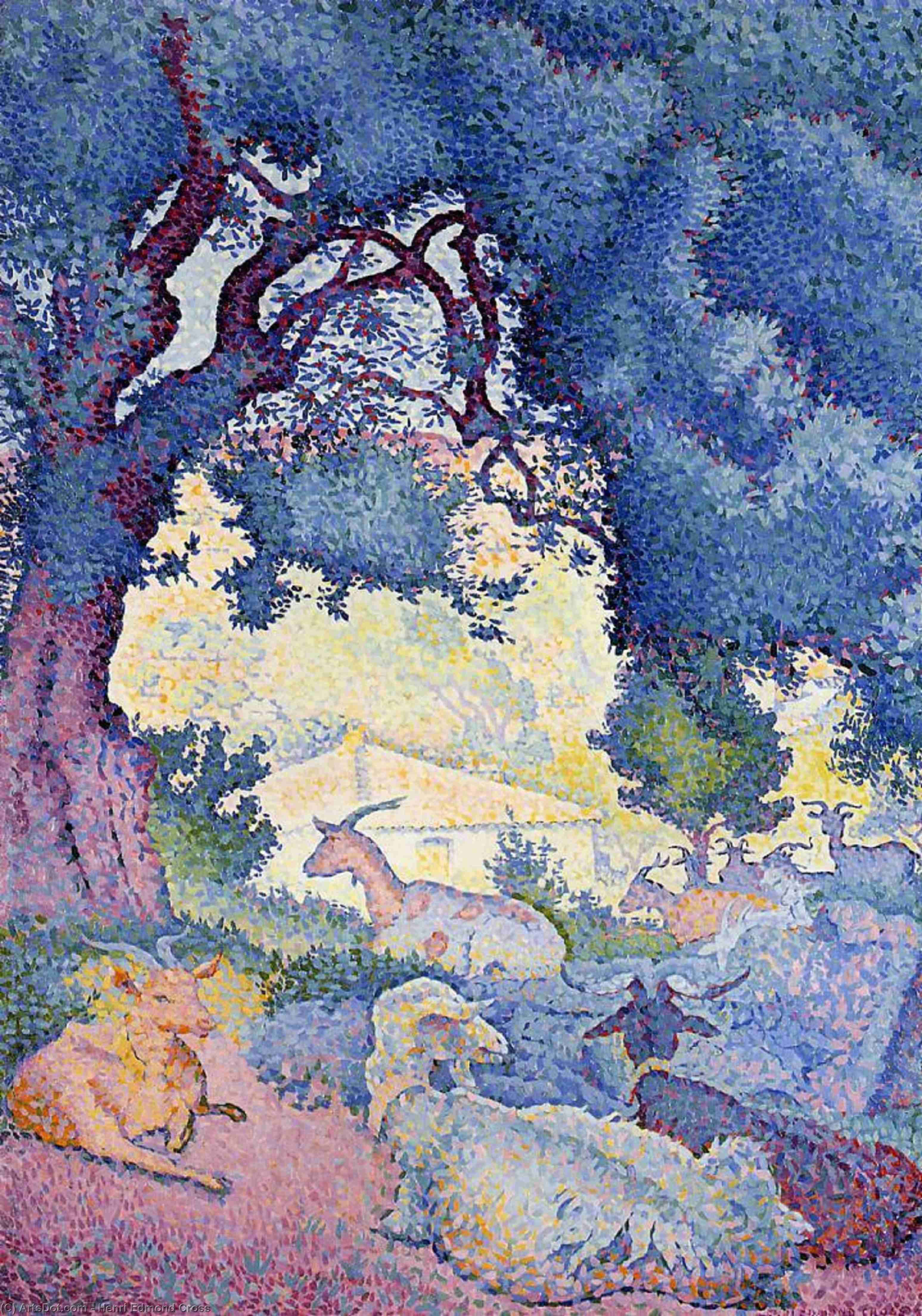 ヤギ, チョーク バイ Henri Edmond Cross (1856-1910, France)
