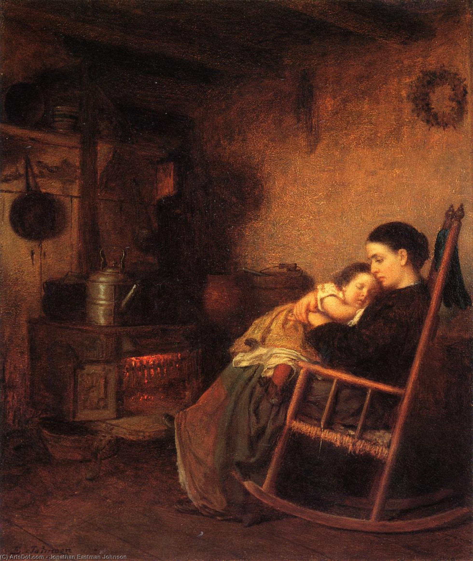 母と子 バイ Jonathan Eastman Johnson (1824-1906, United Kingdom) | 入りジクレー | ArtsDot.com