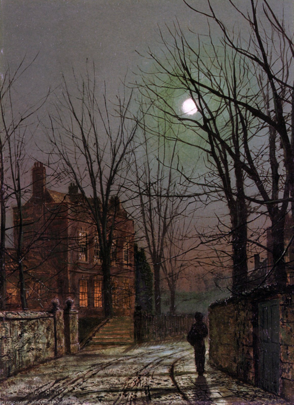 月光, 1882 バイ John Atkinson Grimshaw (1836-1893, United Kingdom) | 傑作コピー | ArtsDot.com