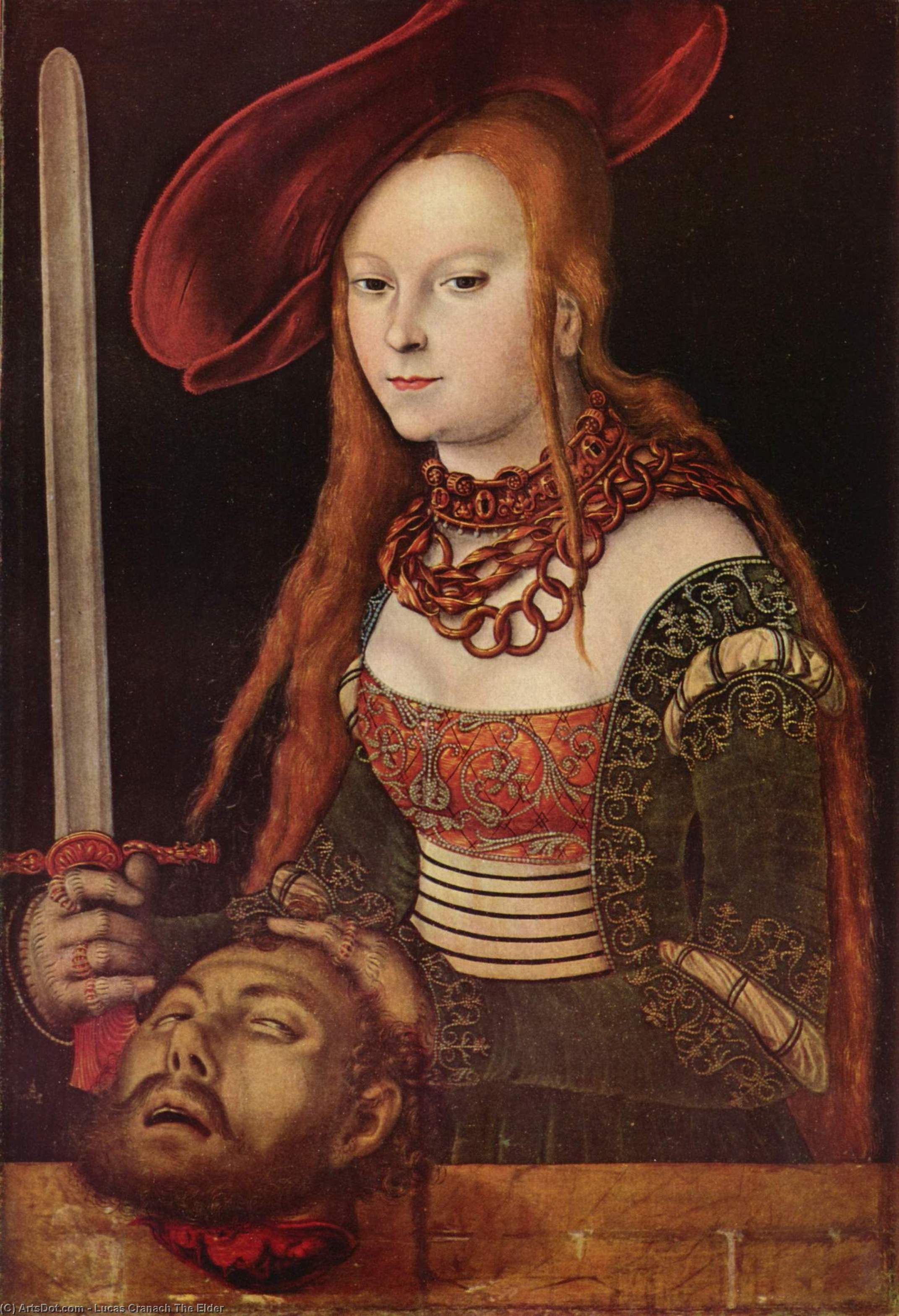 ジュディス, 原油 バイ Lucas Cranach The Elder (1472-1553, Germany)