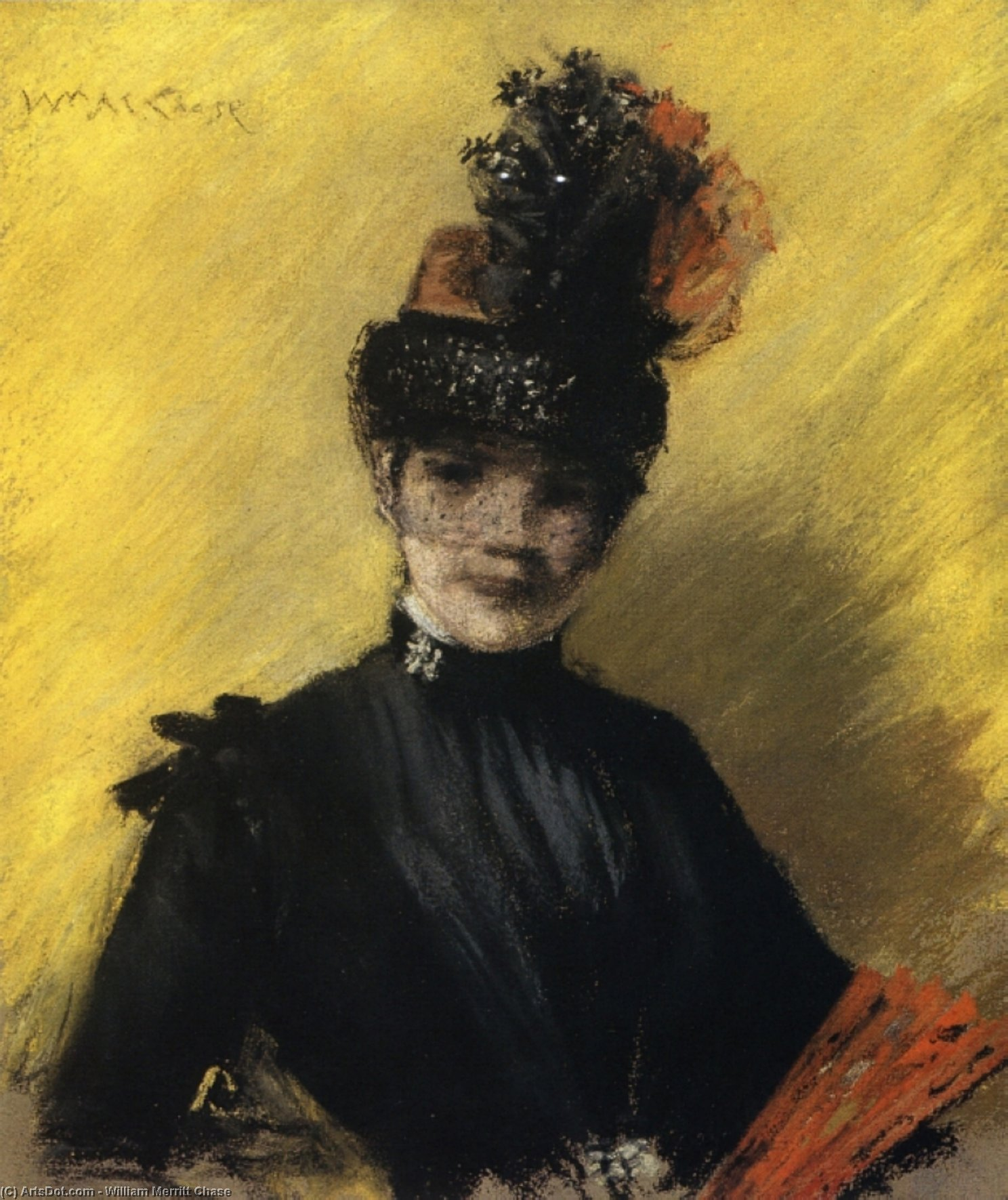 の研究 黒 に反対して Yello, 1886 バイ William Merritt Chase (1849-1916, United States)
