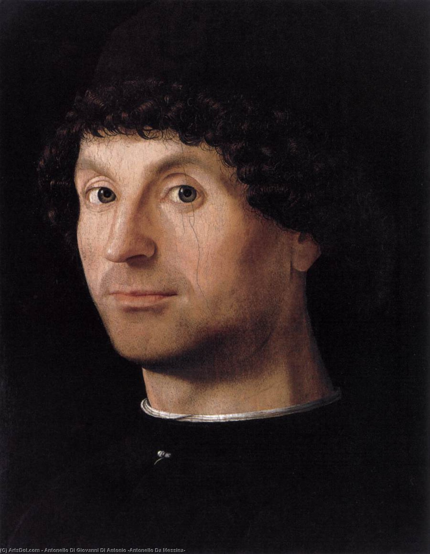 の肖像画 男, パネルに油絵 バイ Antonello Di Giovanni Di Antonio (Antonello Da Messina) (1430-1479, Italy)