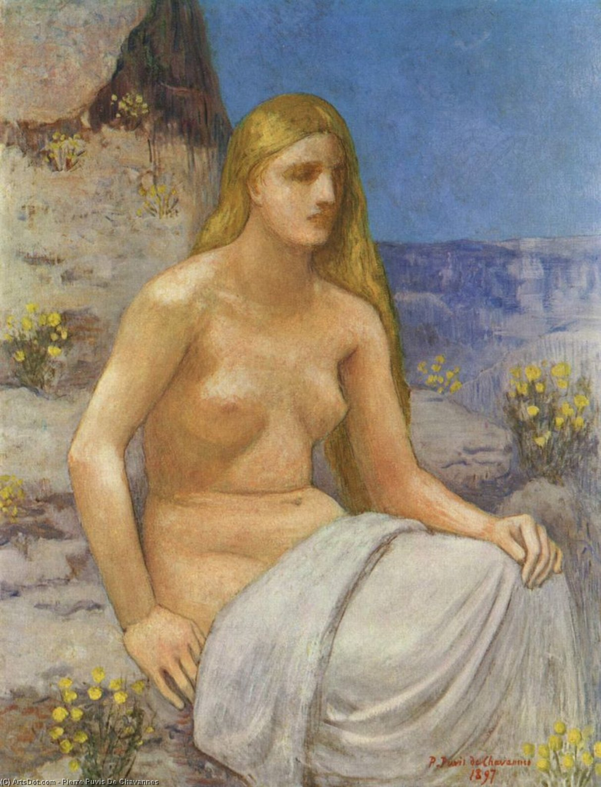 Marie-Madeleine, キャンバス年石油 バイ Pierre Puvis De Chavannes (1824-1898, France)