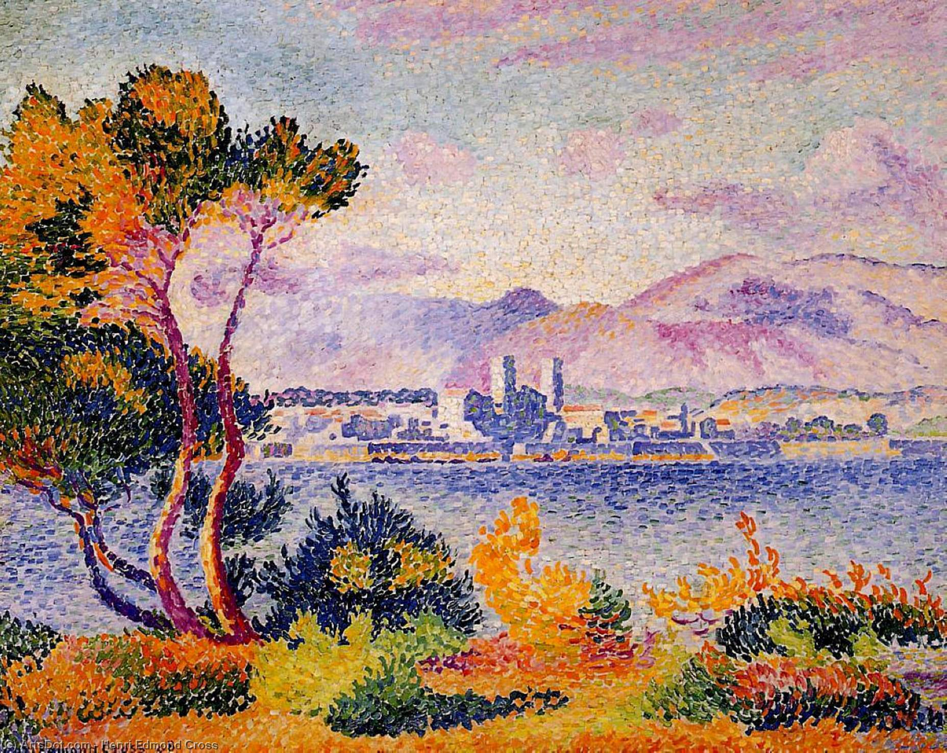アンティーブ、午後 バイ Henri Edmond Cross (1856-1910, France) | ArtsDot.com