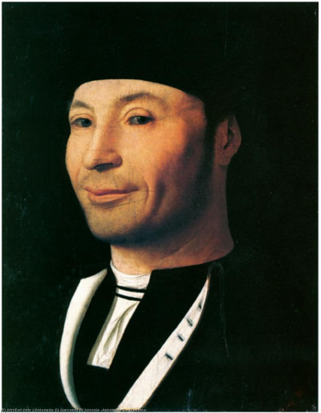 男の肖像, パネルに油絵 バイ Antonello Di Giovanni Di Antonio (Antonello Da Messina) (1430-1479, Italy)