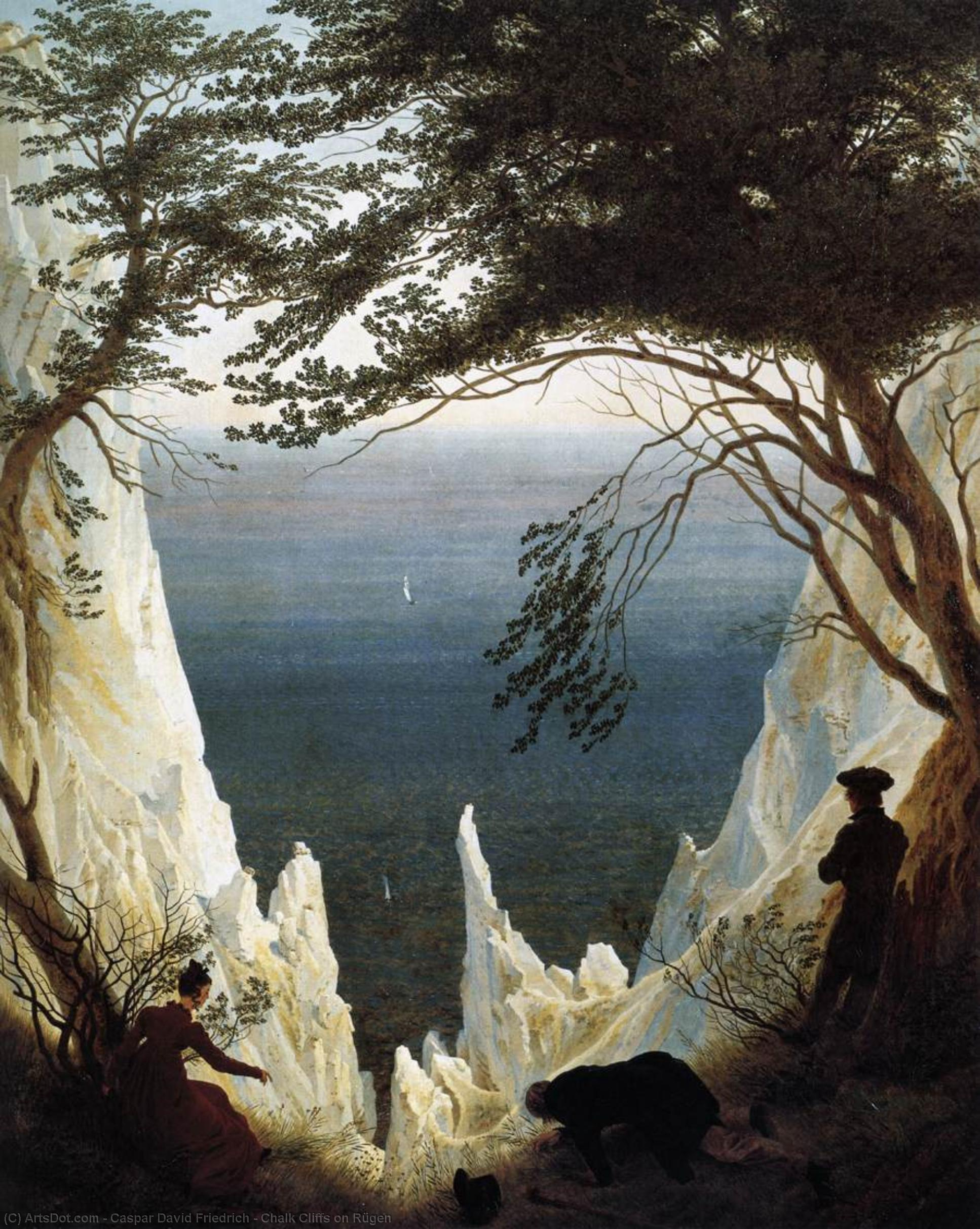 リューゲン島のチョーク崖, 1818 バイ Caspar David Friedrich (1774-1840, Germany) | 油絵 Caspar David Friedrich | ArtsDot.com