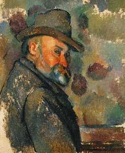Paul Cezanne - Self-Portrait ソフトハット付き