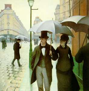 Gustave Caillebotte - パリ通り , 雨の日
