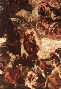 Tintoretto (Jacopo Comin) - モーセのデッサン 水  から  ザー  ロック  detail1