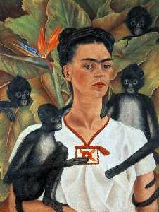 Frida Kahlo - Self-Portrait サルと