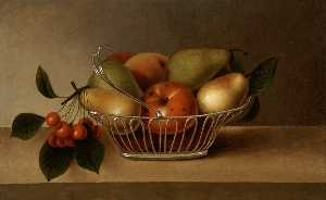 Rubens Peale - まだ life silverbasket の 果物
