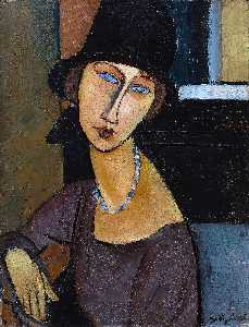 Amedeo Modigliani - 帽子やネックレスジャンヌHebuterne