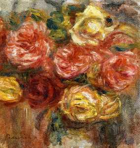 Pierre-Auguste Renoir - 花束 の バラ には 花瓶