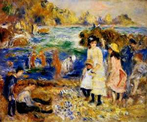 Pierre-Auguste Renoir - ガーンジーの海辺の子供たち