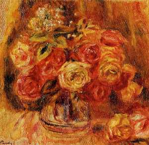 Pierre-Auguste Renoir - バラ には 花瓶