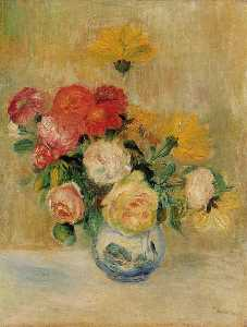 Pierre-Auguste Renoir - 花瓶 の バラ と  ダリア