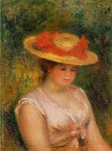 Pierre-Auguste Renoir - 若い女性 には 麦わら帽子