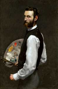 Jean Frederic Bazille - パレットを持つ自画像