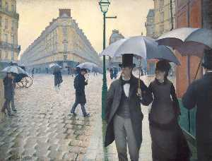 Gustave Caillebotte - パリ 雨の  日