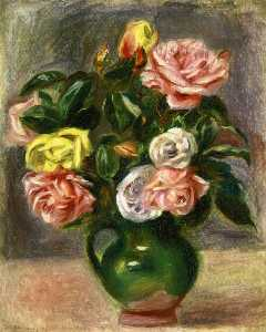 Pierre-Auguste Renoir - 花束 の バラ には 緑 花瓶