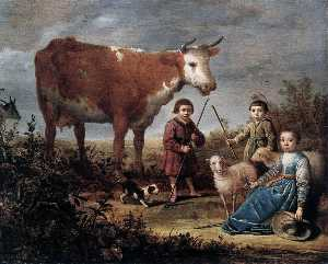 Aelbert Jacobsz Cuyp - 子どもたちと a 牛()