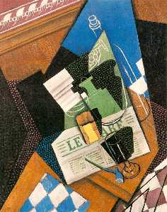 Juan Gris - Water-bottle , ボトル , と Fr..