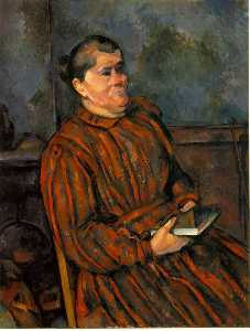 Paul Cezanne - 女 red-striped ドレス , 1892-96 , バーンズ foundatio