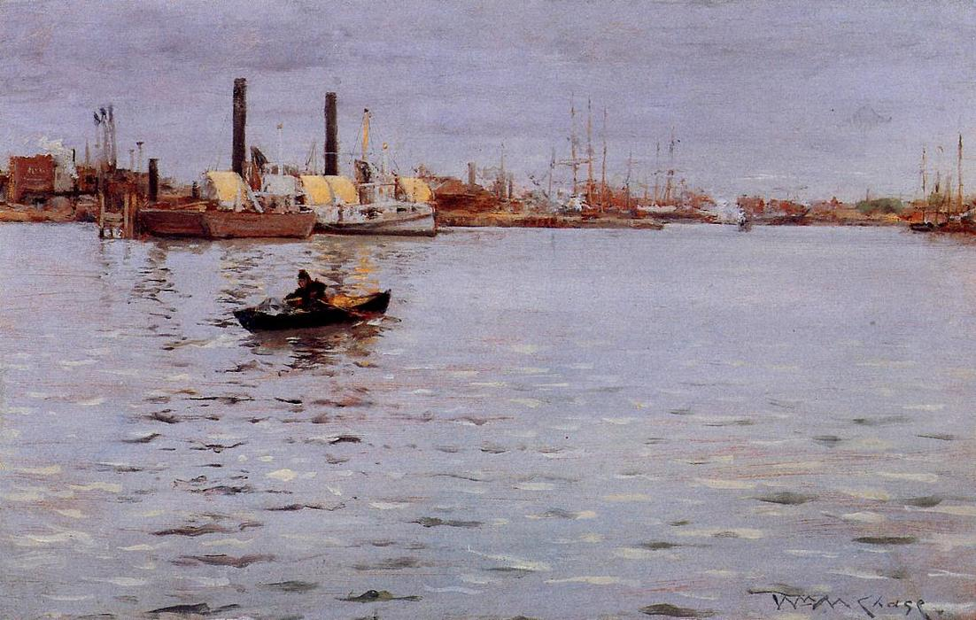 東 川, パネルに油絵 バイ William Merritt Chase (1849-1916, United States)