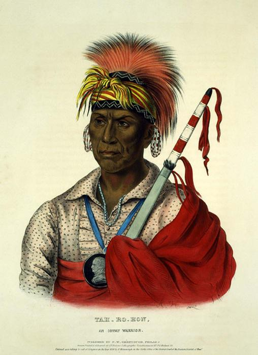 TEH-RO-HON、AN IOWAY WARRIOR, オイル バイ Charles Bird King (1785-1862, United States)