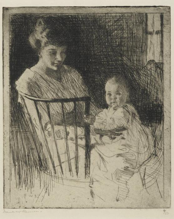 母と子, エッチング バイ Frank Weston Benson (1862-1951, United States)