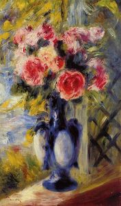 Pierre-Auguste Renoir - 花束 の バラ には 青色 花瓶