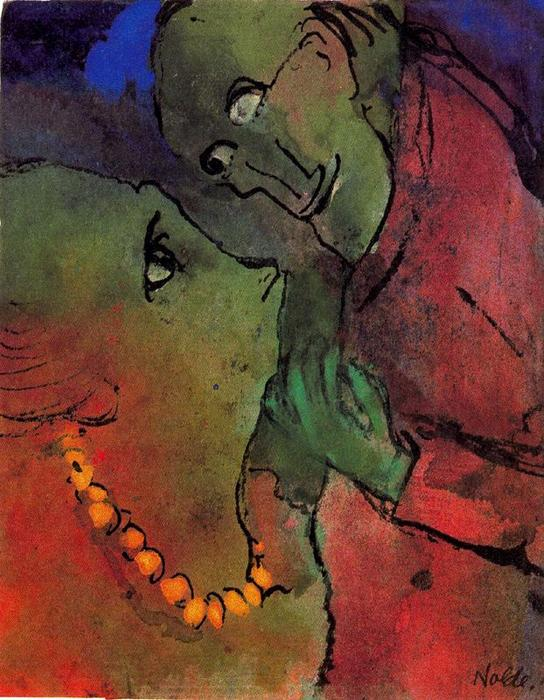 Frog-green カップル バイ Emile Nolde (1867-1956, Germany)