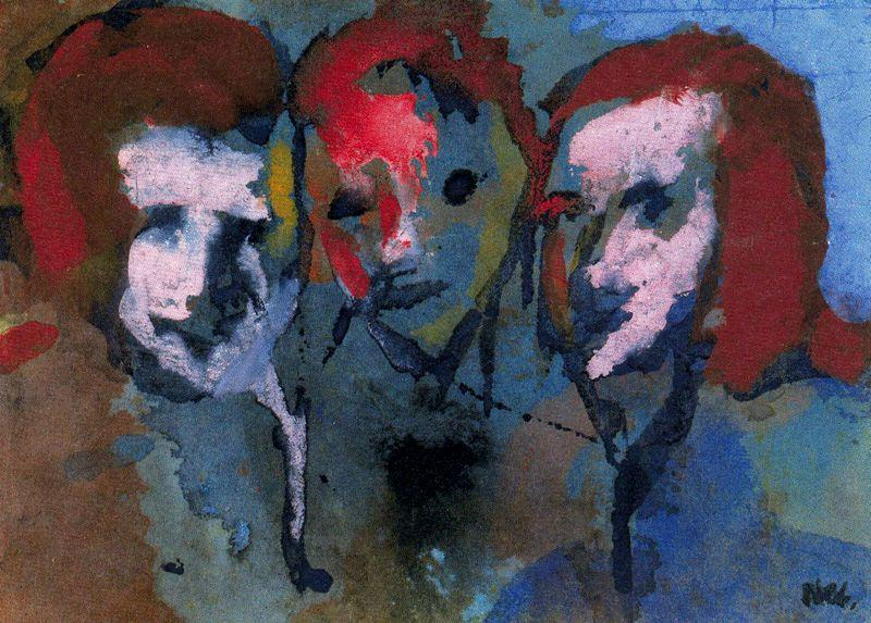 Thereeヘッズ バイ Emile Nolde (1867-1956, Germany)