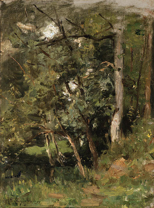 茂った森 バイ Henri-Joseph Harpignies (1819-1916, France)
