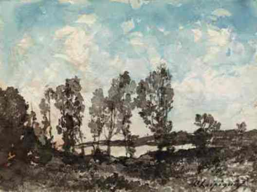 風景 3 バイ Henri-Joseph Harpignies (1819-1916, France)