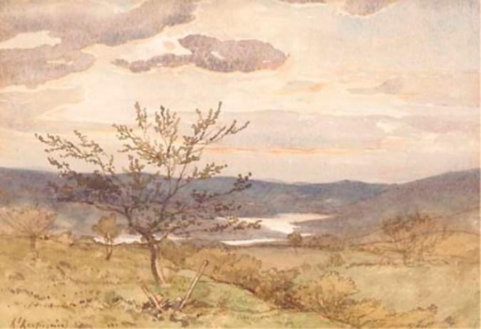 ロワールの風景 バイ Henri-Joseph Harpignies (1819-1916, France)