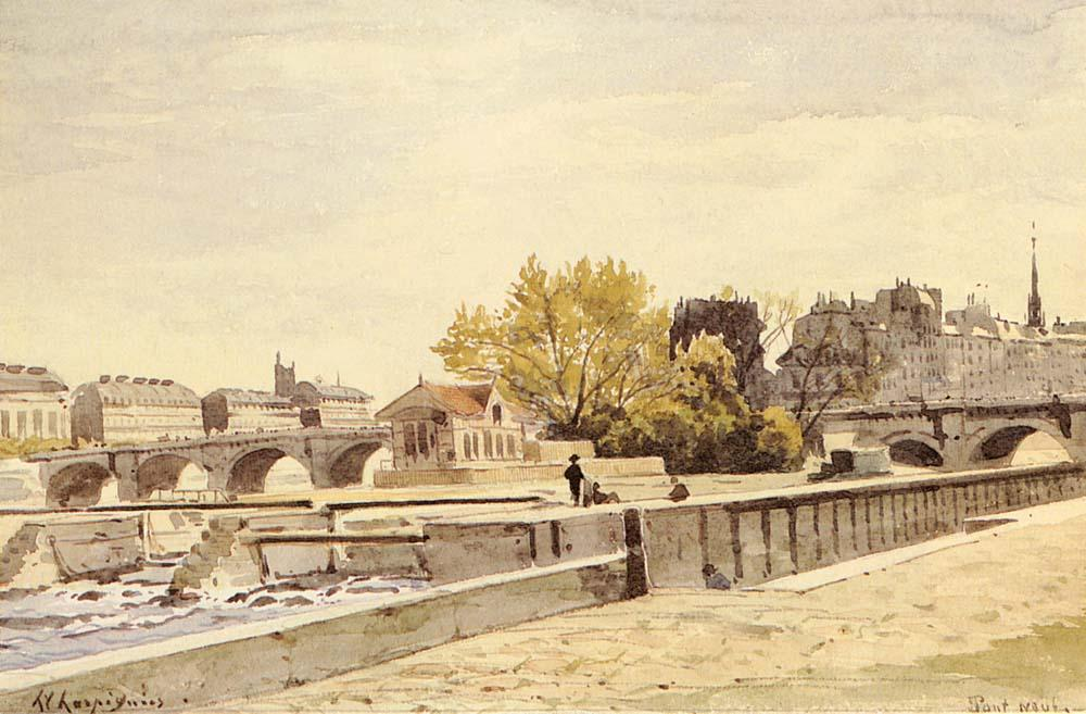 ポンヌフ、パリ バイ Henri-Joseph Harpignies (1819-1916, France)