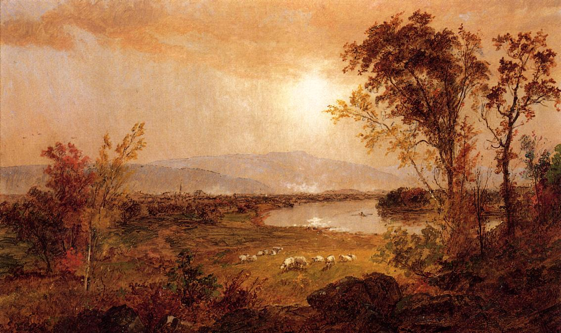 a Bend 川で バイ Jasper Francis Cropsey (1823-1900, United States)