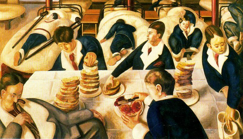 病棟でのお茶 バイ Stanley Spencer (1891-1959, United Kingdom)