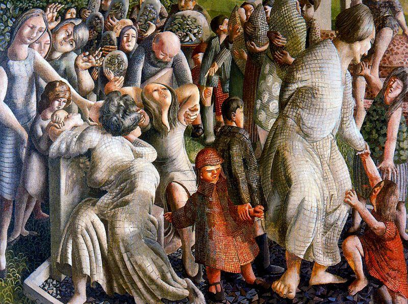 復活。家族の再会 バイ Stanley Spencer (1891-1959, United Kingdom)