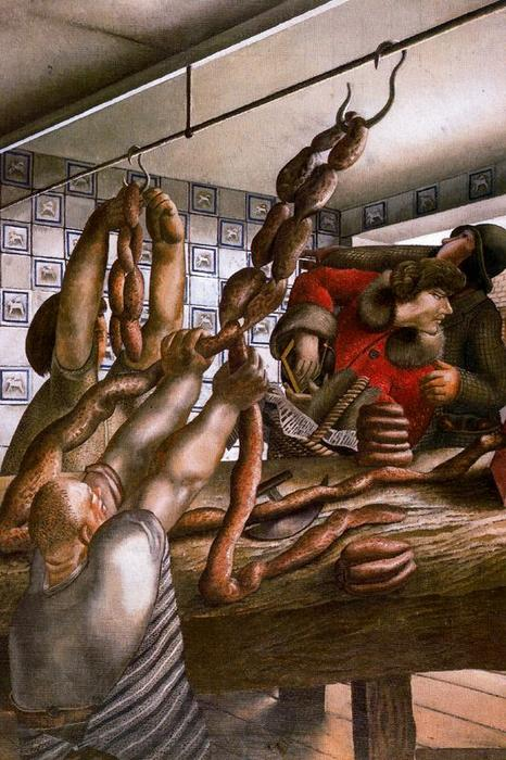 ソーセージショップ バイ Stanley Spencer (1891-1959, United Kingdom)